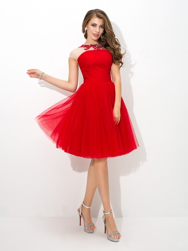 A-Line Net Sheer Neck Short/Mini Red Homecoming Dresses