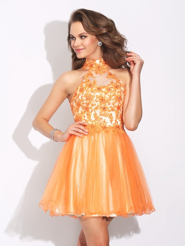 A-Line High Neck Short/Mini Orange Homecoming Dresses