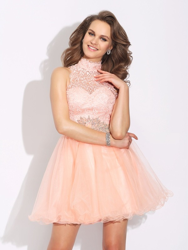 Pink A-Line High Neck Short/Mini Homecoming Dresses with Beading