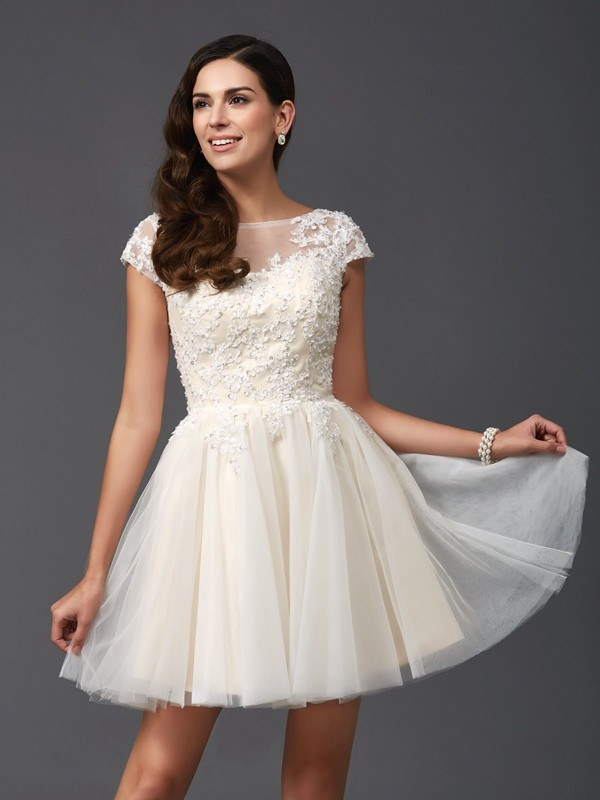 d08a0f92647 Net A-Line Short Mini Short Sleeves Scoop White Homecoming Dresses ...
