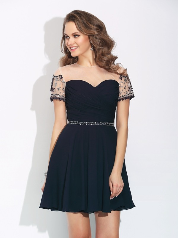 A-Line Short/Mini Short Sleeves Jewel Dark Navy Homecoming Dresses