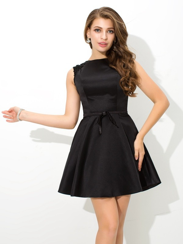 High Neck Short/Mini Black Homecoming Dresses with Sash/Ribbon/Belt