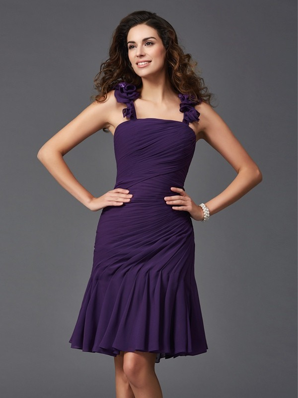 Sheath Straps Short/Mini Grape Homecoming Dresses
