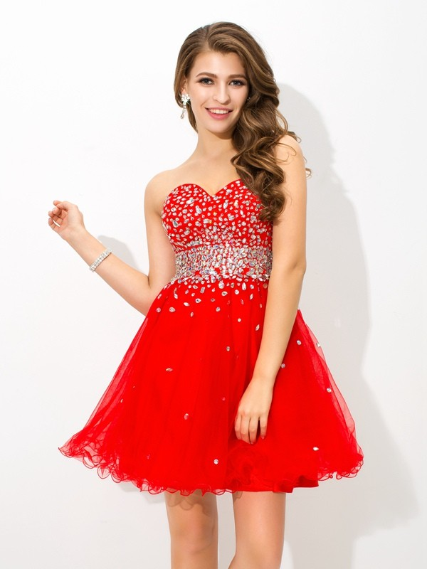 A-Line Sweetheart Short/Mini Red Homecoming Dresses