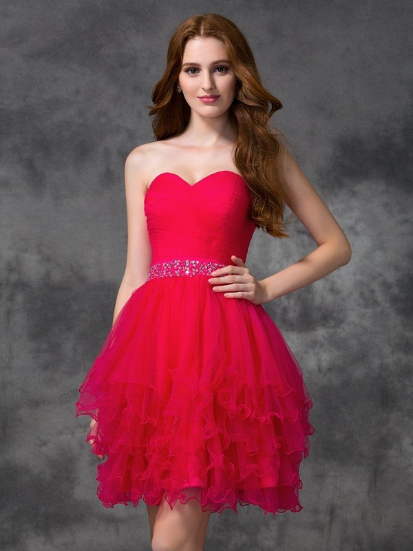 A-Line Sweetheart Short/Mini Red Homecoming Dresses with Beading