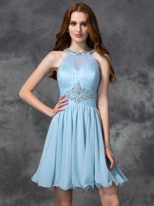 A-Line Chiffon Scoop Short/Mini Homecoming Dresses with Beading