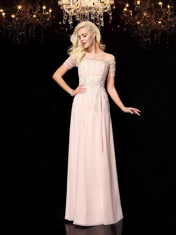 A-Line Bateau Floor-Length Pearl Pink Prom Dresses