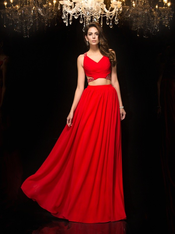 A-Line V-neck Floor-Length Red Prom Dresses