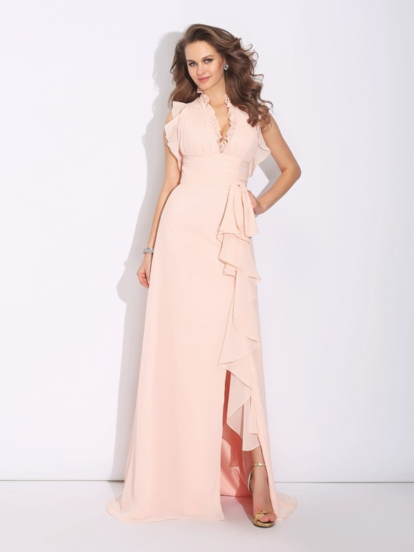Chiffon A-Line Brush Train High Neck Pearl Pink Prom Dresses