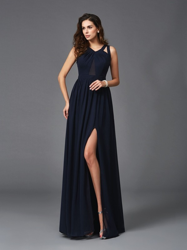 A-Line Straps Floor-Length Dark Navy Prom Dresses