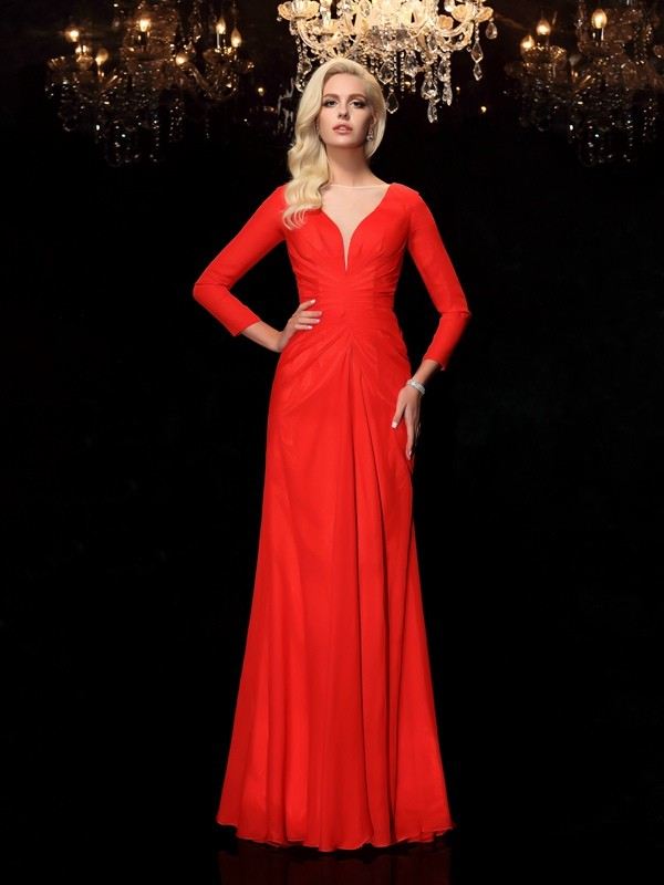 Chiffon Sheath Floor-Length Long Sleeves Bateau Red Prom Dresses