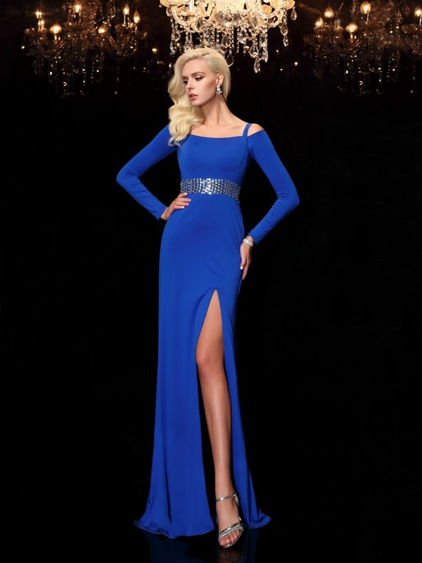 Sheath Long Sleeves Bateau Brush Train Royal Blue Prom Dresses