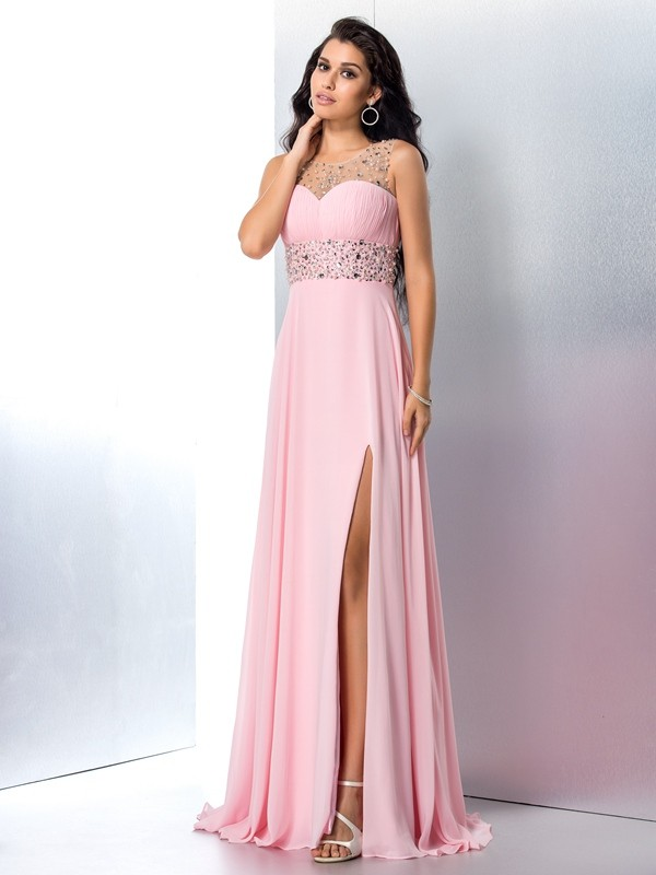 A-Line Sheer Neck Brush Train Pink Prom Dresses with Beading