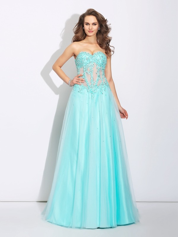 A-Line Net Sweetheart Brush Train Prom Dresses with Lace