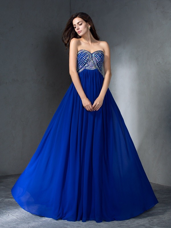 A-Line Sweetheart Brush Train Royal Blue Prom Dresses with Beading
