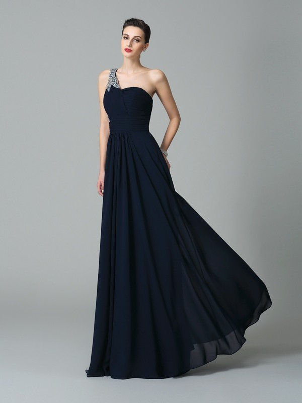 A-Line Chiffon One-Shoulder Floor-Length Prom Dresses with Rhinestone