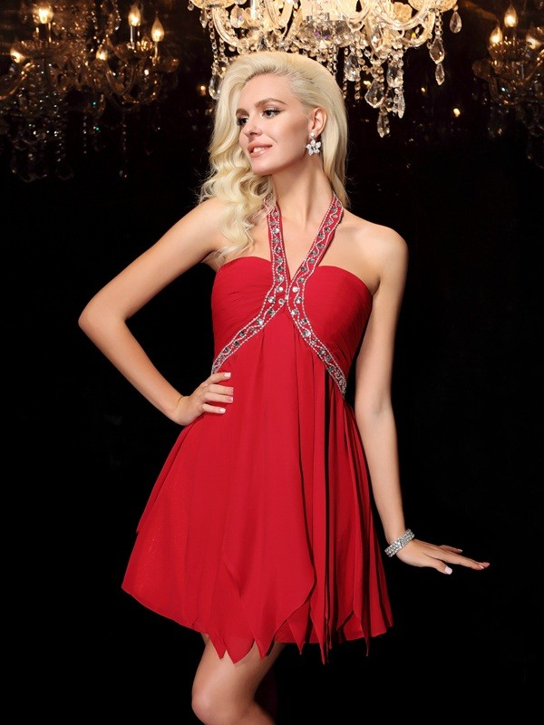 Chiffon A-Line Floor-Length Halter Red Prom Dresses