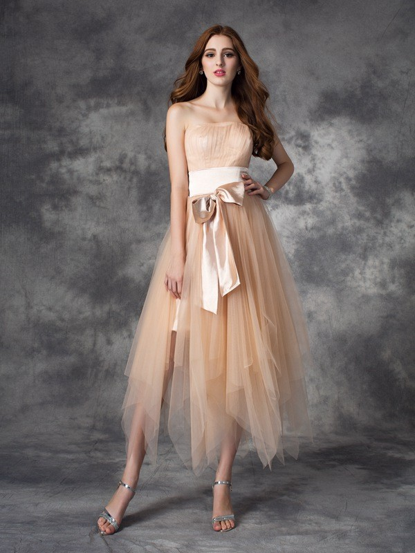 A-Line Strapless Ankle-Length Champagne Prom Dresses