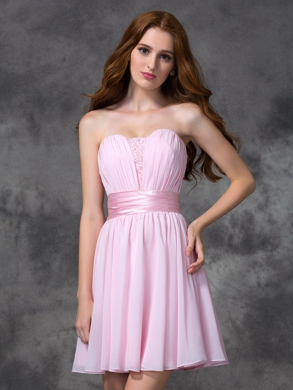 A-Line Sweetheart Short/Mini Pink Prom Dresses