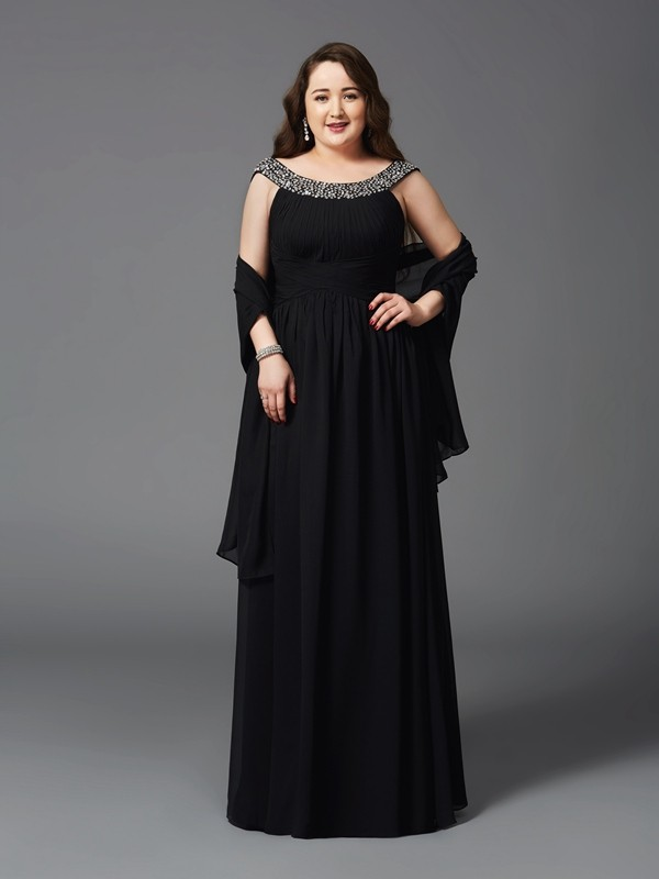 Scoop Floor-Length Black Prom Dresses with Rhinestone