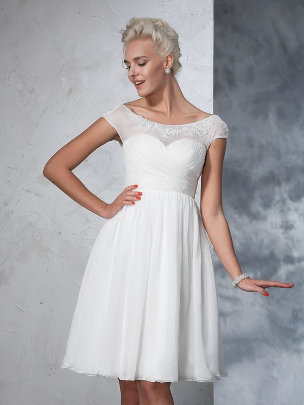 Ivory Sheer Neck Chiffon Knee-Length Wedding Dresses