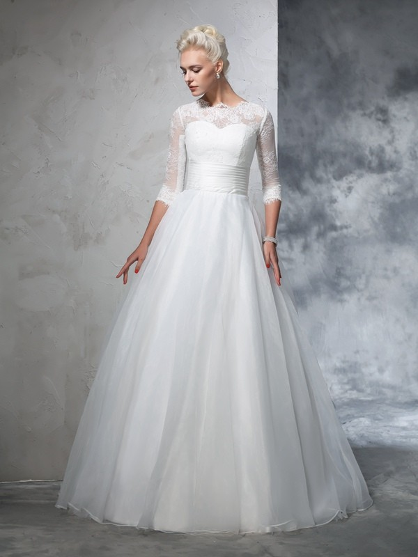 Ball Gown Jewel Floor-Length Ivory Wedding Dresses with Applique