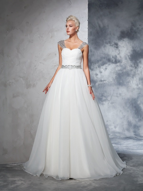 Ball Gown Straps Chapel Train Ivory Wedding Dresses