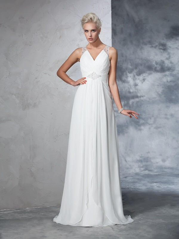 Brush Train Ivory V-neck Wedding Dresses with Ruched