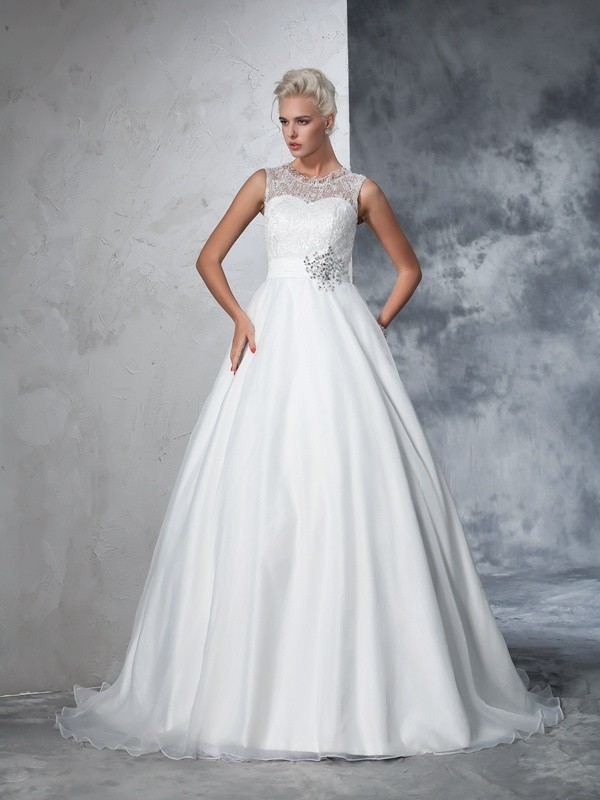 Sheer Neck Chapel Train Ivory Wedding Dresses with Lace