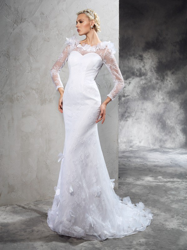 Satin Long Sleeves Sheer Neck Court Train Ivory Wedding Dresses