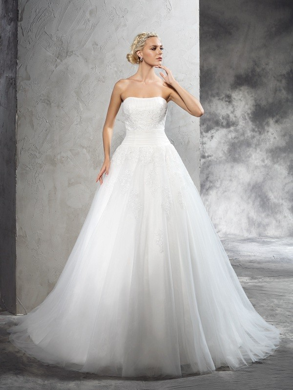 Ball Gown Satin Strapless Court Train Wedding Dresses with Applique