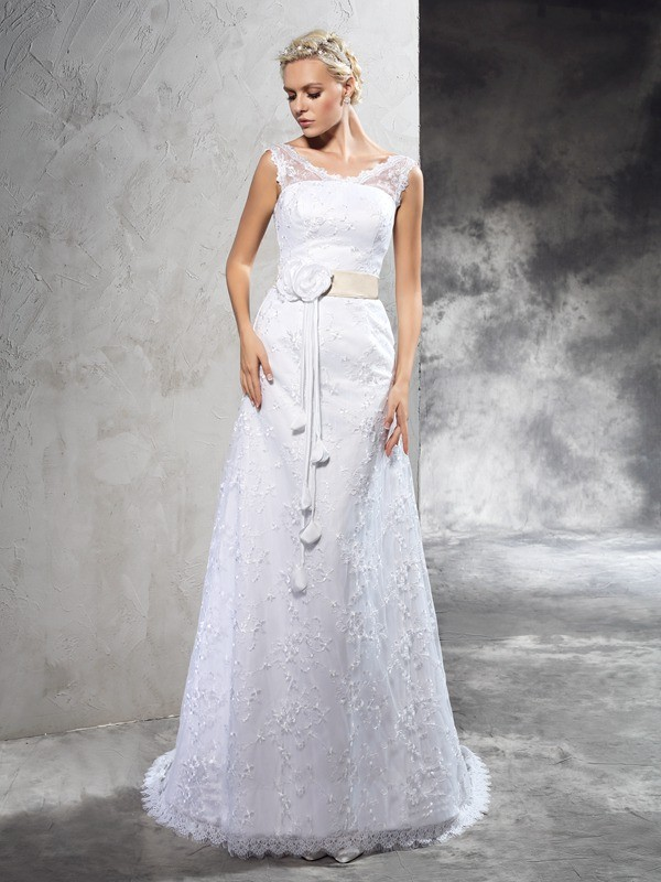 Sheath Sheer Neck Court Train Ivory Wedding Dresses