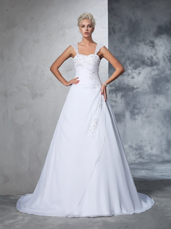 Chiffon Straps Court Train White Wedding Dresses