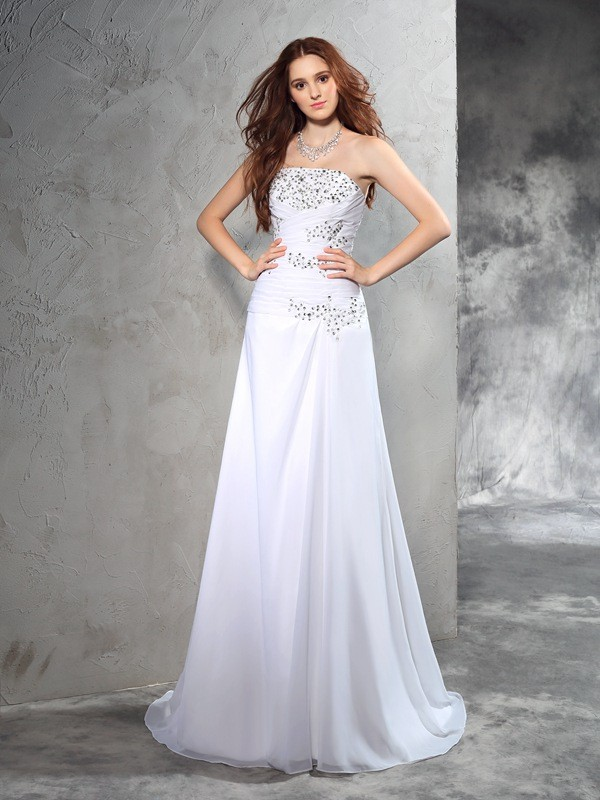 Sheath Strapless Brush Train White Wedding Dresses with Beading