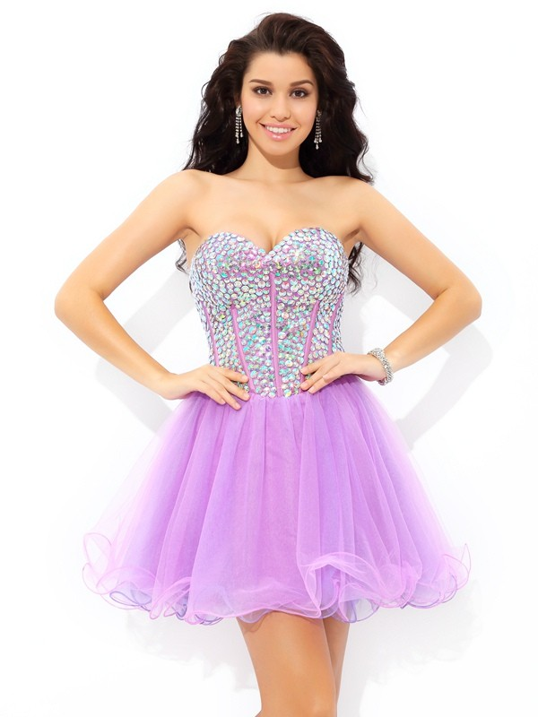 A-Line Sweetheart Short/Mini Lilac Homecoming Dresses