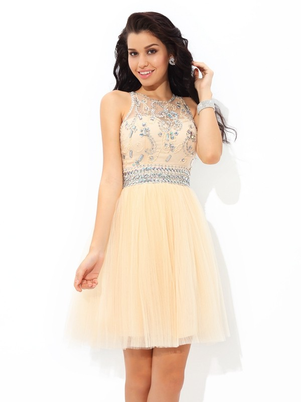A-Line Sheer Neck Short/Mini Champagne Homecoming Dresses with Beading