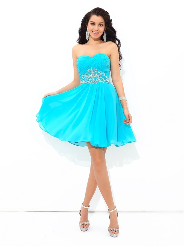 Sweetheart Short/Mini Blue Homecoming Dresses with Pleats