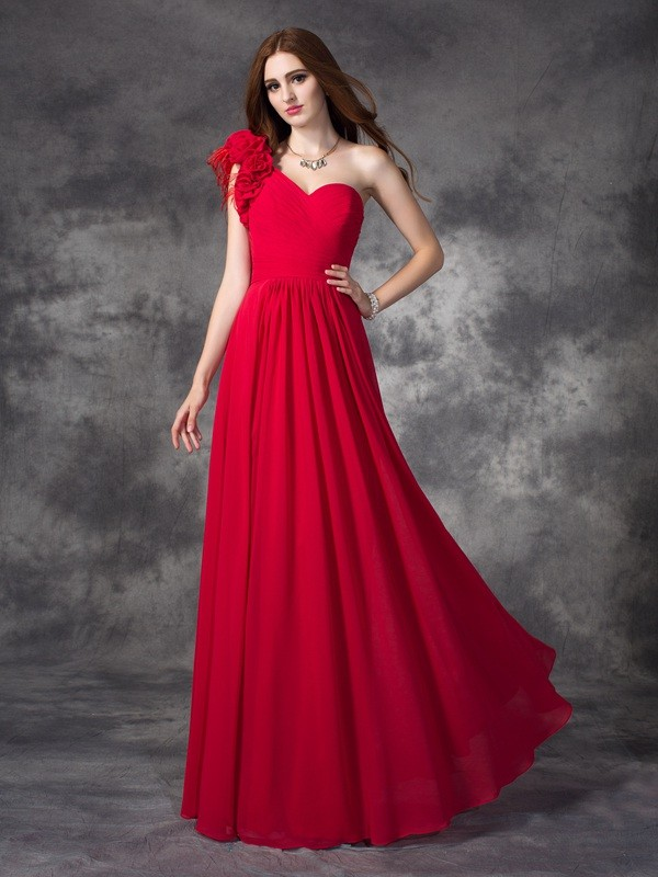 One-Shoulder Floor-Length Red Prom Dresses with Hand-Made Flower