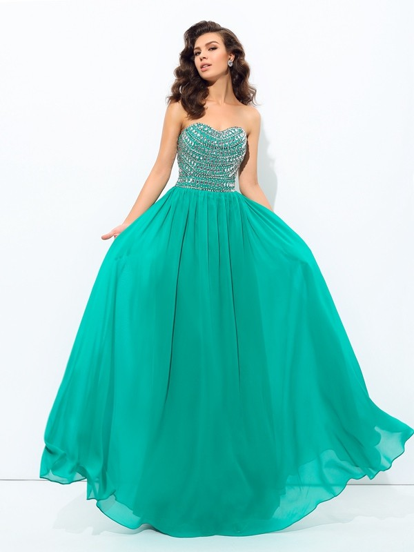 Chiffon Sweetheart Floor-Length Dark Green Prom Dresses