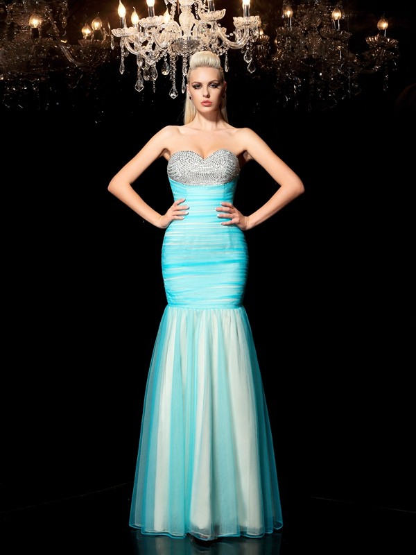 Sheath Sweetheart Floor-Length Blue Prom Dresses