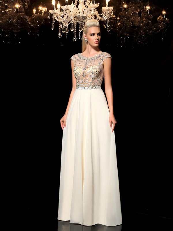 Sheer Neck Floor-Length Champagne Prom Dresses with Rhinestone
