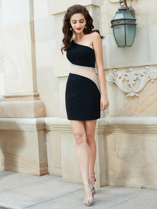 Short/Mini Black One-Shoulder Homecoming Dresses with Beading