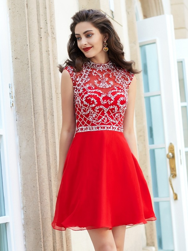 A-Line High Neck Short/Mini Red Homecoming Dresses
