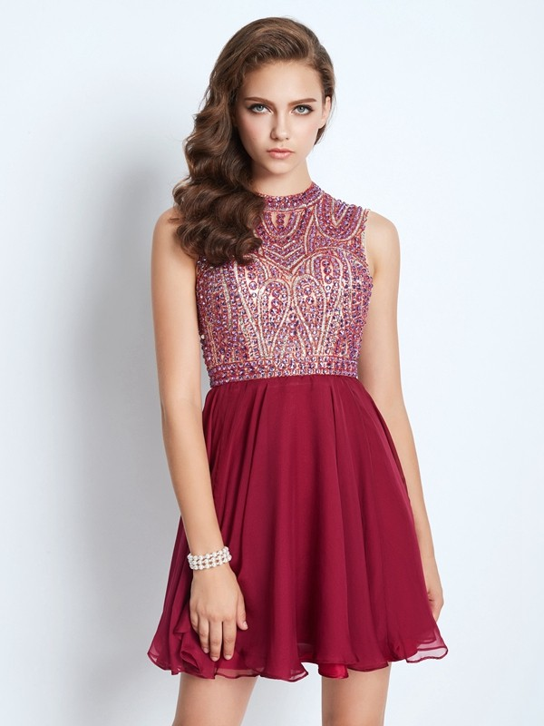 A-Line Jewel Short/Mini Burgundy Homecoming Dresses