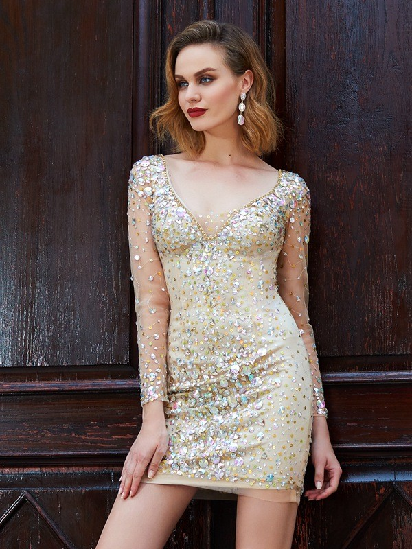 Long Sleeves Sheath Scoop Short/Mini Gold Homecoming Dresses