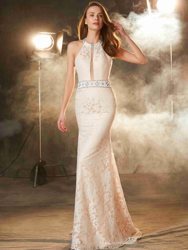 Floor-Length Ivory Halter Prom Dresses with Lace