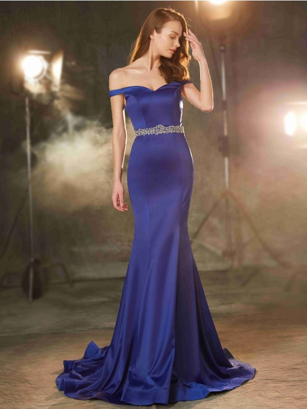 Satin Mermaid Brush Train Off-the-Shoulder Royal Blue Prom Dresses