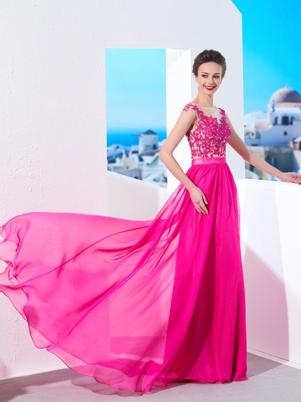A-Line Sheer Neck Brush Train Fuchsia Prom Dresses