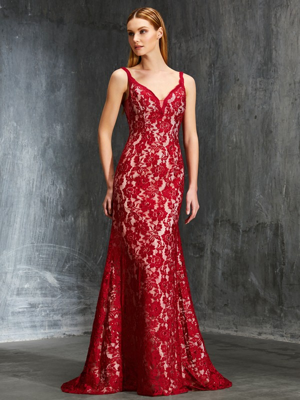 Sheath Spaghetti Straps Brush Train Red Prom Dresses with Applique