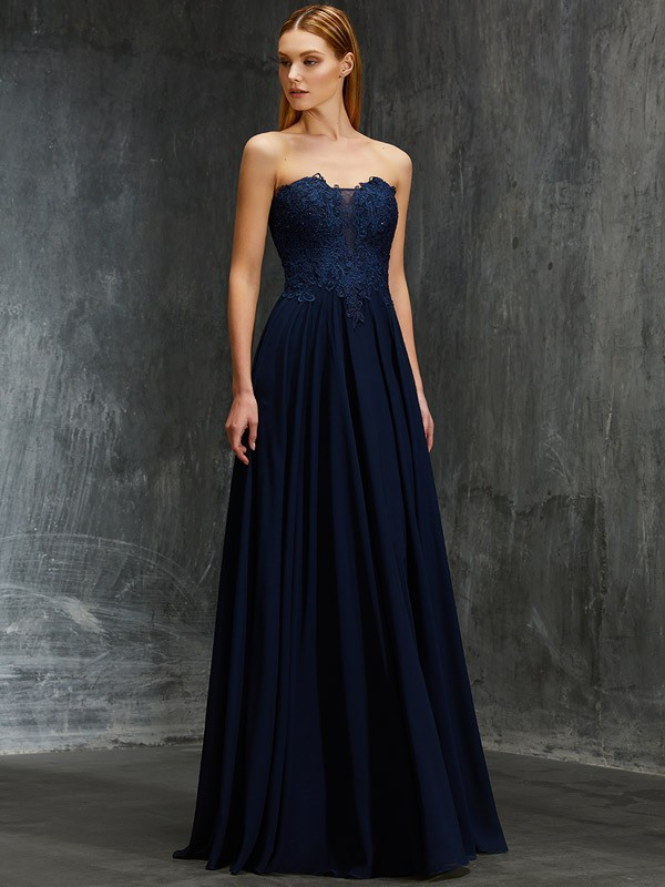 A-Line Sweetheart Floor-Length Dark Navy Prom Dresses with Applique